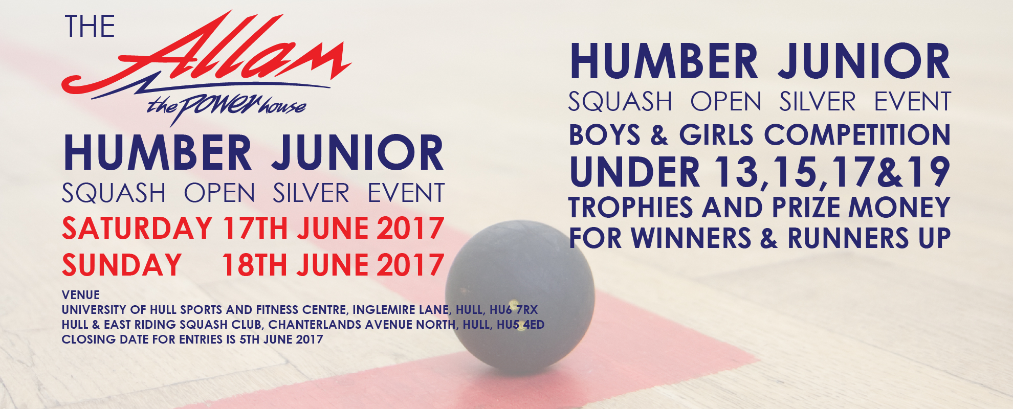 ALLAM HUMBER JUNIOR OPEN - SILVER EVENT  2017 - APPLICATION FORM